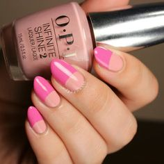 Sahyly's Half Moons in pink and blush are just BREATH TAKING. Own them by using OPI #InfiniteShine's extra glossy nail lacquers, given to the artist for free for being a PreenMe VIP.