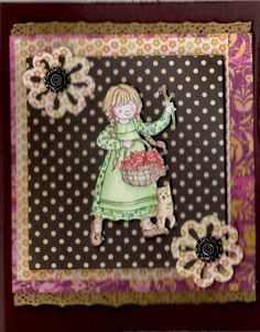 An old fashioned birthday girl Stamps:Stampin' Up, A Kind Word Paper:SU, for card and backgrounds except polka dot, which is unknown scrap Ink:Image: ColorBox; Coloring: Stampin' Up Accessories:SU 3 in 1 flower punch, Antique Brads,Flower Soft, Unkown lace Techniques:watercolor, layering