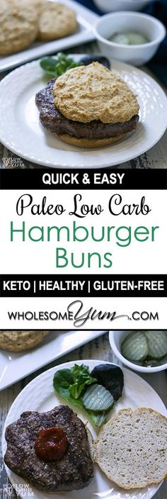 Low Carb Hamburger Buns Recipe (Keto, Paleo) - There's no need to settle for a bun-less burger on a keto diet. It's easy to make your own low carb hamburger buns for all your summer cookouts! (Ketogenic Recipes For Kids) Lowest Carb Bread Recipe, Low Carb Bread, Low Carb Keto, Keto Bread, Best Gluten Free Recipes, Sugar Free Recipes, Low Carb Recipes, Paleo Recipes, Lunch Recipes
