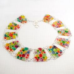 Gorgeous Rainbow-Colored Shrinky Dink Panel Necklace via Etsy