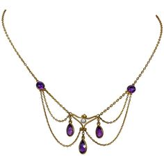 Victorian Siberian Amethyst Pearl Festoon Swag Necklace 14 Karat Gold For Sale at Edwardian Jewelry, Antique Jewelry, Vintage Jewelry, Antique Brass, Ear Jewelry, Cute Jewelry, Jewellery, Beaded Jewelry, Jewelry Making