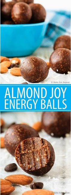 Almond Joy Energy Balls - Quick and easy almond joy energy balls that mix up in minutes and are a healthy, tasty snack full of coconut, almonds and chocolate!  Perfect lunchbox snack!