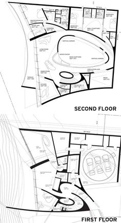 california beach home floor plans | Plans of the La Jolla House designed by Zaha Hadid Architects. Drawing ...