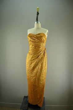 Stunning 1960s formal gown vintage party dress 60s autumn evening gown