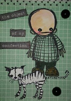 Artwork created by Shelly Ann Kroger using rubber stamps designed by Daniel Torrente for Stampotique Originals