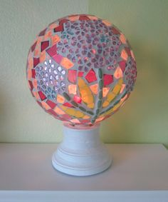 Garden's Delight Mosaic Orb Night Light - electric