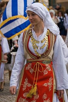*GREECE ~ Greek girl in national costume for Independence Day parade (Galaxidi, Greece) Greek Traditional Dress, Traditional Fashion, Traditional Outfits, Greek Girl, Greek Woman, Costumes Around The World, Folk Clothing, Greek Culture, Beautiful Costumes