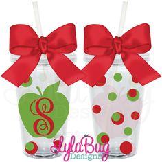 Teacher Initial Apple Tumbler: LylaBug Designs Teacher Appreciation Gift Teacher Holiday Gift