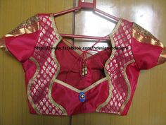#pink #designer #sareeblouse #silk #brocade #mixandmatch #border #backdetail #lace #cutwork pattern #sleeve pattern #golden #sequencelace #brooch #tassels #knot