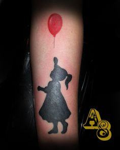 Silhouette girl tattoo holding a red balloon done by chad from aces and eights tattoo in lakewood wa, Aces-n-Eights tattoo, A8