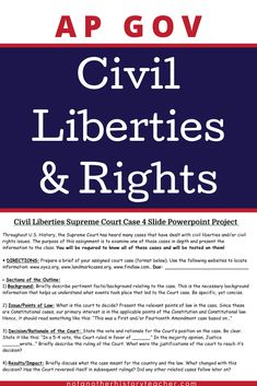 Step up your teaching game with this Civil Liberties and Rights Unit for AP US Government and Politics! This product will build critical thinking skills as your students analyze the civil rights of America. There are two projects included for you to assess their learning!