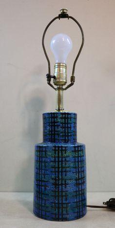 Raymor Bitossi Graphic Mid Century Modern Atomic Pottery Lamp Italy Signed Londi #MidCenturyModern #RaymorBitossi