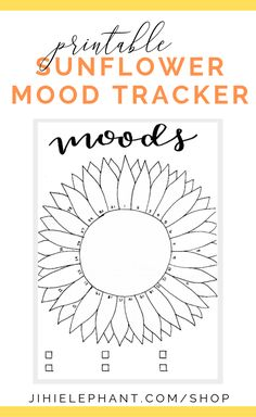 This sunflower mood tracker is a one-page tracker. The petals can be colored in, doodled in, or written in to depict each days mood. The mood key is located at the bottom of the page where there is space for six different moods. If you love sunflowers and want to track your moods, this bullet journal layout is perfect for you! Bullet Journal Mood Tracker Ideas, Bullet Journal Notebook, Bullet Journal Ideas Pages, Bullet Journal Inspiration, Journal Pages, Bullet Journals, Bullet Journal Layout Templates, Bullet Journal Printables, Diy Notebook