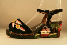 1940s Carved and Painted Strappy Wood Wedge with Embroidered Velvet Uppers