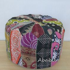 Indian Village Vintage Pouf Ottoman Patchwork Foot Stool Kantha pouf Cover Throw #Unbranded #Ethnic