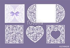 Vector: Vector heart paper cutting. White heart made of paper. Laser cut vector. Wedding invitation or greeting card with flowers. Invitation envelope template. Use for laser cutting. Valentine Day