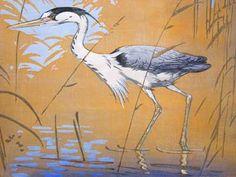 ✨ Allen William Seaby, British (1867-1953) - Heron no. 3, Colour Woodcut, signed