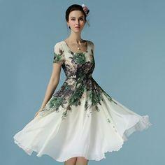 2016 Women Flower Print Dress Short Sleeve Ladies Knee Length Chiffon Dress White Casual Summer Dresses