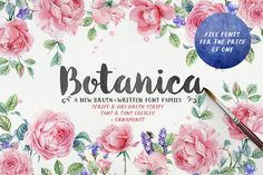 Botanica Brush is a new 100% brush written font family with inky texture that was inspired by modern trends in brush lettering. The fonts look good both together and separately and