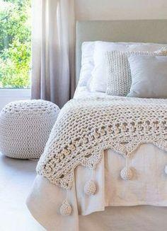 como hacer colchas para cama tejidas