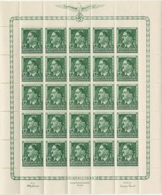 - Generalgouvernement, Michel 117-9 GG Mi 117-9 Hitler Birthday issue of 1944 in complete sheets with artist and engravers signature and National emblem at top.