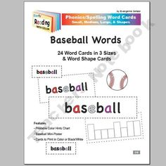 Phonics Word Cards ~ About Baseball ~ for Summer Reading & Spelling