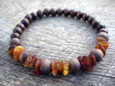 Mens surfer bracelet amber chip and wood beads by thehappymushroom, £5.80