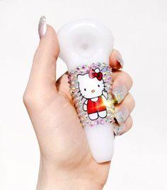 HELLO KITTY PIPE - girly, smoking pipe, smoking bowl, kawaii, pastel, blown glass, bling,sparkly, crystallized, crystal, fashion
