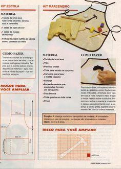 Ceci EuQfiz: Avental de Tecido para criança e Avental de tecido com bolso envelope