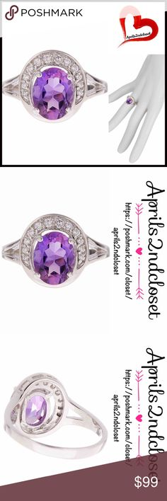 ❗️1-HOUR SALE❗️Genuine AMETHYST STERLING SILVER 💟NEW WITH TAGS💟    RING STERLING SILVER AMETHYST & WHITE CZ   * Brilliant sparkle   * Prong set oval amethyst & pave white CZ halo split shank ring   * A true statement piece   * Approx 13mm ring face   * Sterling silver setting    * Genuine CZ diamonds    * Box included    MATERIAL: Sterling silver, amethyst, 1.70 ctw, cubic zirconia (CZ)     COLOR: Purple       Item#  🚫No Trades🚫 ✅ Offers Considered ✅  Key search words# pastel lilac…