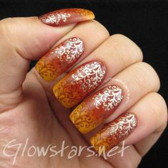 The Digit-al Dozen does Autumn: Gradient and Stamping - a manicure using Barry M Gelly Mustard, Barry M Gelly Paprika, Barry M Gelly Espresso, Barry M Gold Foil and Bundle Monster plate 225