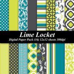 Lime Locket Digital Paper Pack (16) 12x12 sheets 300 dpi scrapbooking invitations neon green teal aqua gray