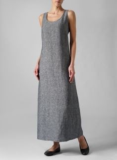 Linen Scoop Neck Sleeveless Long Dress - Plus Size Linen Dresses, Casual Dresses, Fashion Dresses, Linen Pants Outfit, Miss Me Outfits, Salwar Designs, Overall Dress, Couture, Clothes For Women