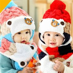 2f141df3d3206 Baby Hat and Scarf Cute Bear Crochet Knitted Baby Caps for Neck Warmer  Winter Baby Cap Hats For Girls Winter Children's Hats -in Hats & Caps from  Mother ...