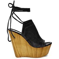 Steve Madden Women's Bonelli Platform Sandals ($130) ❤ liked on Polyvore featuring shoes, sandals, heels, black suede, platform sandals, wedge sandals, high heel shoes, wooden heel sandal y black platform sandals