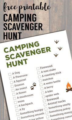 Camping Scavenger Hunt Printable. Nature outdoor scavenger hunt ideas free printable for kids, adults, teens, students or scouts. #papertraildesign #camping #campingideas #carcamping