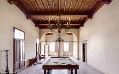 This pool table in theBorgo Santa Cecilia villa has been left untouched. The villa is believed to have been completed in the 20th century