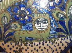 "Vintage Mexican Pottery XOCHIQUETZAL Teresa Duran SIGNED LION Salad Bowl 11.5"""