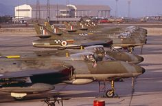 Early morning on the Flight line - Hunters of Strike Wing 8 43 Squadron, Khormaksar 1965 Raf Bases, Uk Arms, Air Force Aircraft, Experimental Aircraft, Royal Air Force, Royal Navy, Armed Forces, Military Aircraft, Fighter Jets