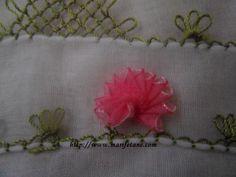 Kurdela Çiçekli İğne Oyasi Modeli Oya, Master Class, Ribbon Embroidery, Ribbons, Tutorials, Ribbon Sewing