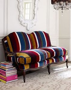 Striped Sofa Vintage Settee, Striped Sofa, Traditional Sofa, Velvet Couch,  Bed Curtains