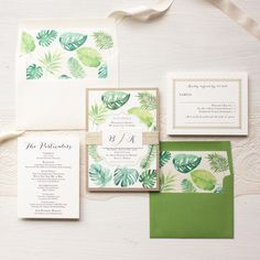 Wow your guests with Beacon Lane's destination wedding invitation style, Tropical Green, completely customizable to fit the theme of your special day.