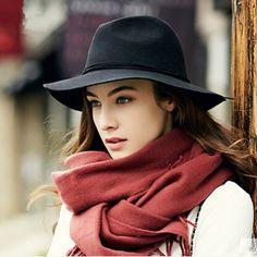 Fashion women wide brim fedora hat winter trilby felt hat