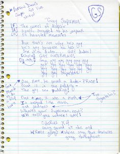 Lyrics to Gay Superman by Three Arm Sally.