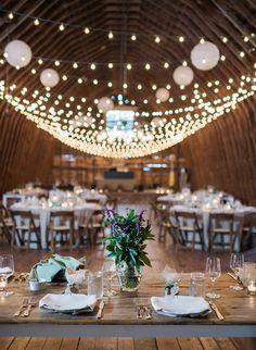 Barn wedding with twinkle lights