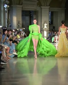 """Dress winter Rami Kadi Look Fall Winter 2020 Couture Collection Salad Green Evening Mini Dress / Short Dress with one Long Sleeve, a Skirt and a Train. """"Temple of Flora"""" Fall Winter 2020 Couture Collection. Runway Show by Rami Kadi Style Couture, Haute Couture Dresses, Couture Fashion, Runway Fashion, Shrug For Dresses, Short Dresses, Fashion Show Dresses, Collection Couture, Fashion Show Collection"""