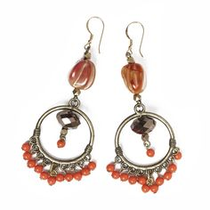 Chandelier earrings with vintage beads