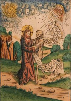 Christ with Death - Michael Wolgemut [Germany hard colored drypoint. Hans Holbein, Medieval Life, Medieval Art, Hans Baldung Grien, Paranormal, Death Art, Esoteric Art, Occult Art, Danse Macabre