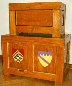 Breakdown Panel Chests...mostly love how  the two devices painted on the chest -- might be a sweet wedding present :)