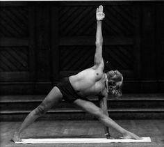 BKS Iyengar in Utthita Trikonasana (Extended Triangle Pose) #iyengar #yoga